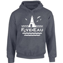 Load image into Gallery viewer, dark heather hoodie sweatshirt showing seagulls in flight around the lighthouse and pier in Erieau on Lake Erie Ontario.  Lifestyle apparel brand for water lovers, wake surf, water ski, fishing and boating enthusiasts