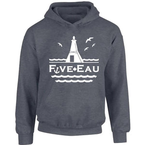dark heather hoodie sweatshirt showing seagulls in flight around the lighthouse and pier in Erieau on Lake Erie Ontario.  Lifestyle apparel brand for water lovers, wake surf, water ski, fishing and boating enthusiasts