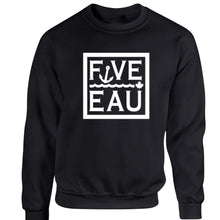 Load image into Gallery viewer, black block logo crewneck sweatshirt.  Lifestyle apparel brand for water lovers, wake surf, water ski, fishing and boating enthusiasts based out of Erieau on Lake Erie Ontario.
