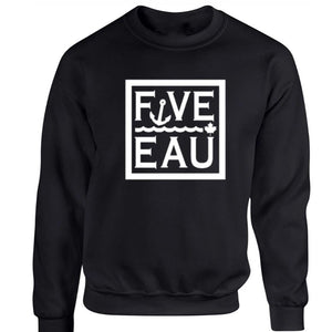 black block logo crewneck sweatshirt.  Lifestyle apparel brand for water lovers, wake surf, water ski, fishing and boating enthusiasts based out of Erieau on Lake Erie Ontario.