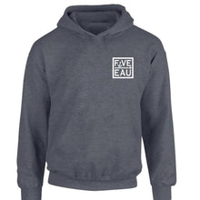 Load image into Gallery viewer, dark heather small block logo hoodie sweatshirt.  Lifestyle apparel brand for water lovers, wake surf, water ski, fishing and boating enthusiasts based out of Erieau on Lake Erie Ontario.
