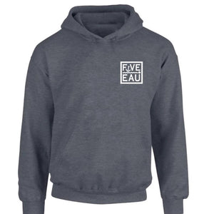dark heather small block logo hoodie sweatshirt.  Lifestyle apparel brand for water lovers, wake surf, water ski, fishing and boating enthusiasts based out of Erieau on Lake Erie Ontario.
