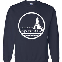 Load image into Gallery viewer, navy crew neck sweatshirt showing the lighthouse and pier in Erieau on Lake Erie Ontario.  Lifestyle apparel brand for water lovers, wake surf, water ski, fishing and boating enthusiasts