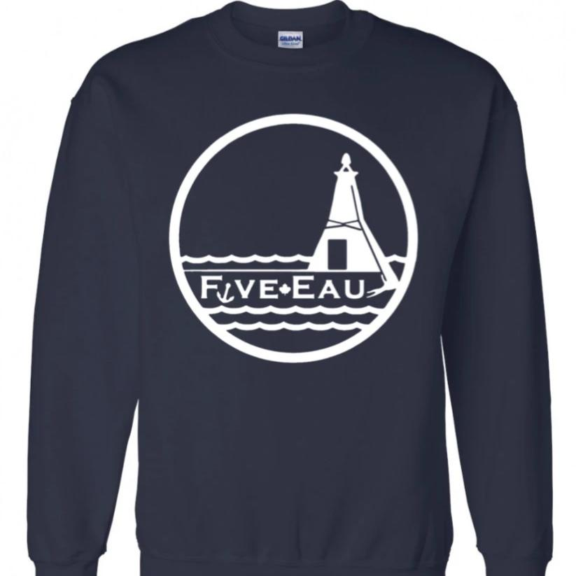 navy crew neck sweatshirt showing the lighthouse and pier in Erieau on Lake Erie Ontario.  Lifestyle apparel brand for water lovers, wake surf, water ski, fishing and boating enthusiasts