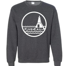 Load image into Gallery viewer, dark heather crew neck sweatshirt showing the lighthouse and pier in Erieau on Lake Erie Ontario.  Lifestyle apparel brand for water lovers, wake surf, water ski, fishing and boating enthusiasts