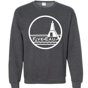 dark heather crew neck sweatshirt showing the lighthouse and pier in Erieau on Lake Erie Ontario.  Lifestyle apparel brand for water lovers, wake surf, water ski, fishing and boating enthusiasts