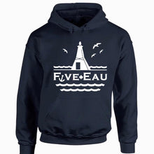 Load image into Gallery viewer, navy hoodie sweatshirt showing seagulls in flight around the lighthouse and pier in Erieau on Lake Erie Ontario.  Lifestyle apparel brand for water lovers, wake surf, water ski, fishing and boating enthusiasts