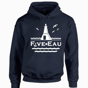 navy hoodie sweatshirt showing seagulls in flight around the lighthouse and pier in Erieau on Lake Erie Ontario.  Lifestyle apparel brand for water lovers, wake surf, water ski, fishing and boating enthusiasts