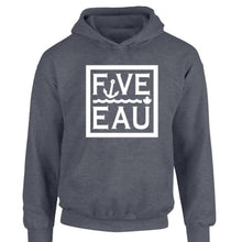 Load image into Gallery viewer, dark heather block logo hoodie sweatshirt.  Lifestyle apparel brand for water lovers, wake surf, water ski, fishing and boating enthusiasts based out of Erieau on Lake Erie Ontario.