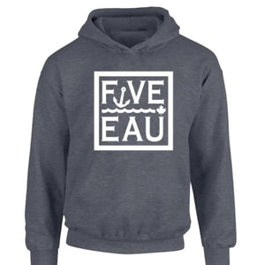 dark heather block logo hoodie sweatshirt.  Lifestyle apparel brand for water lovers, wake surf, water ski, fishing and boating enthusiasts based out of Erieau on Lake Erie Ontario.