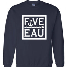 Load image into Gallery viewer, navy block logo crewneck sweatshirt.  Lifestyle apparel brand for water lovers, wake surf, water ski, fishing and boating enthusiasts based out of Erieau on Lake Erie Ontario.