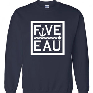navy block logo crewneck sweatshirt.  Lifestyle apparel brand for water lovers, wake surf, water ski, fishing and boating enthusiasts based out of Erieau on Lake Erie Ontario.