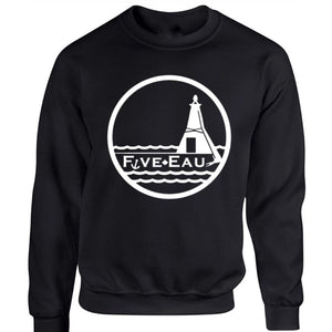 black crew neck sweatshirt showing the lighthouse and pier in Erieau on Lake Erie Ontario.  Lifestyle apparel brand for water lovers, wake surf, water ski, fishing and boating enthusiasts