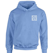 Load image into Gallery viewer, erie sky blue small block logo hoodie sweatshirt.  Lifestyle apparel brand for water lovers, wake surf, water ski, fishing and boating enthusiasts based out of Erieau on Lake Erie Ontario.