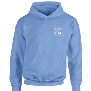 erie sky blue small block logo hoodie sweatshirt.  Lifestyle apparel brand for water lovers, wake surf, water ski, fishing and boating enthusiasts based out of Erieau on Lake Erie Ontario.