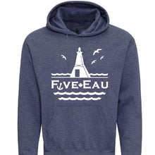 Load image into Gallery viewer, huron heather hoodie sweatshirt showing seagulls in flight around the lighthouse and pier in Erieau on Lake Erie Ontario.  Lifestyle apparel brand for water lovers, wake surf, water ski, fishing and boating enthusiasts