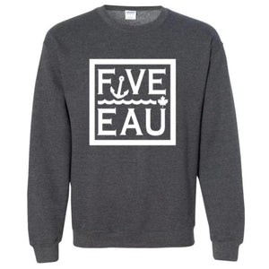 dark heather block logo crewneck sweatshirt.  Lifestyle apparel brand for water lovers, wake surf, water ski, fishing and boating enthusiasts based out of Erieau on Lake Erie Ontario.