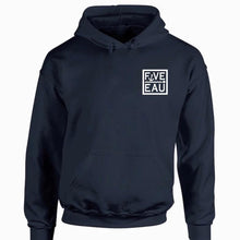 Load image into Gallery viewer, navy small block logo hoodie sweatshirt.  Lifestyle apparel brand for water lovers, wake surf, water ski, fishing and boating enthusiasts based out of Erieau on Lake Erie Ontario.