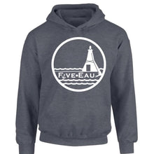 Load image into Gallery viewer, dark heather hoodie sweatshirt showing the lighthouse and pier in Erieau on Lake Erie Ontario.  Lifestyle apparel brand for water lovers, wake surf, water ski, fishing and boating enthusiasts