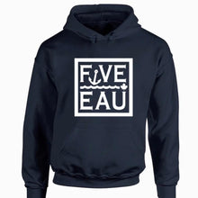 Load image into Gallery viewer, navy block logo hoodie sweatshirt.  Lifestyle apparel brand for water lovers, wake surf, water ski, fishing and boating enthusiasts based out of Erieau on Lake Erie Ontario.