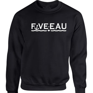 black crewneck sweatshirt Five-Eau wave logo based in Erieau on Lake Erie Ontario.  Lifestyle apparel brand for water lovers, wake surf, water ski, fishing and boating enthusiasts