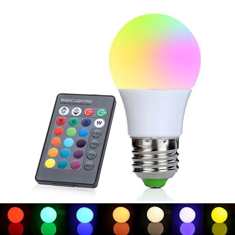 remote controlled color changing LED light bulb