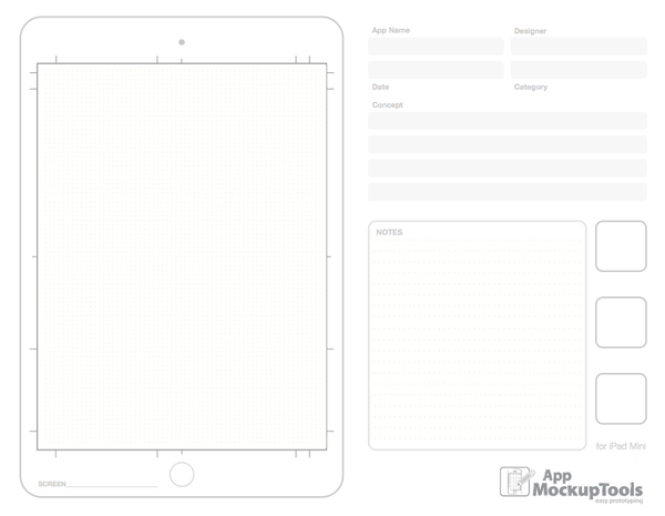 8.5x11 / A4 pdf ipad mini sketchpad for App Mockups. App Mockup Tools