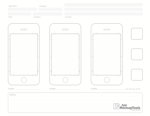 8.5X11 iPhone Sketchpad for App Mockups.