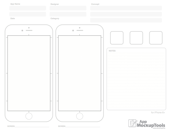 8.5X11/A4 iPhone 6+ Printable PDF Sketchpad