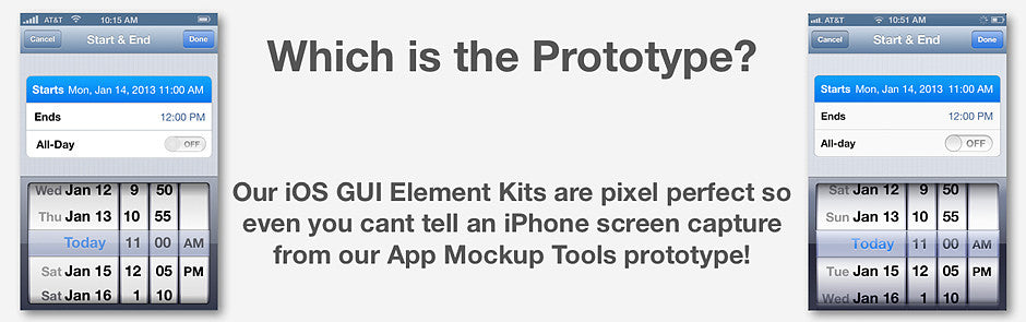 iPhone iOS GUI App Prototyping Kit