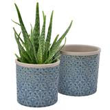 Glasert potte (glazed pot) Porto blue