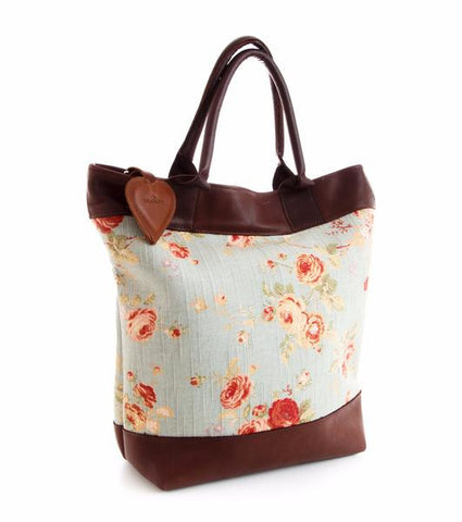 Veske til alt  - Floral - Linen and Leather Tote bag