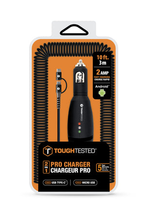 Pro+ Rapid Car Charger with Heavy Gauge Cord with Micro-USB Connector