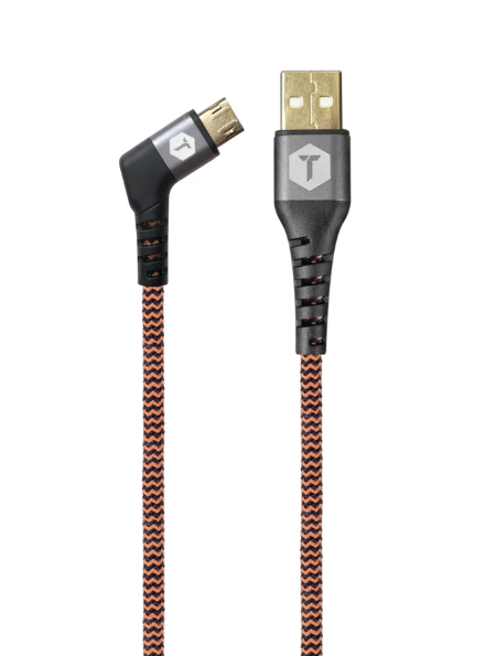 Braided 6 Ft. USB Cable with 90° Micro to USB