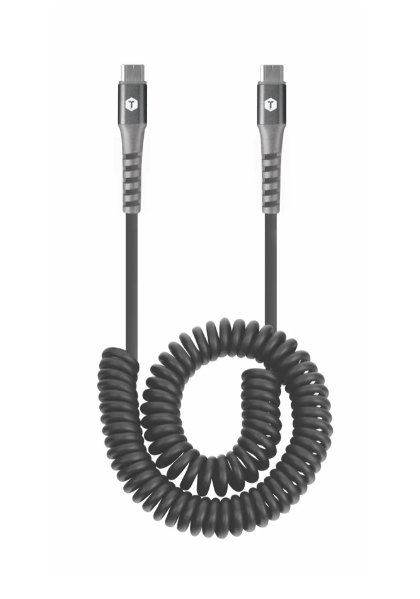10 Ft. Coiled 2 Amp USB Cable with USB-C to USB-C Connector
