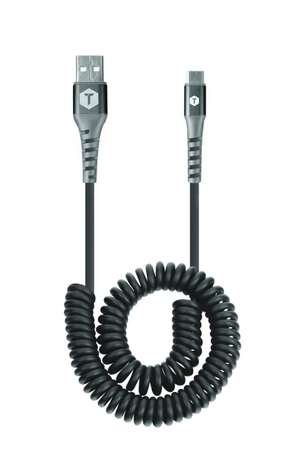 10 Ft. Coiled 2 Amp USB Cable with USB-A to USB-C Connector