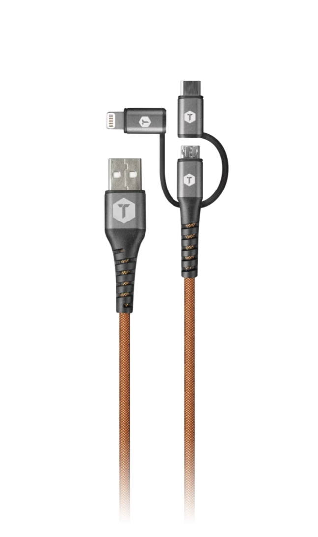 4 Ft. 3 in 1 Cable with USB-C/MICRO/LIGHTNING Tips