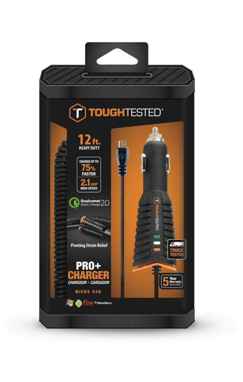 Pro+Rapid Car Charger with QC2 and 12' Heavy Gauge MICRO USB