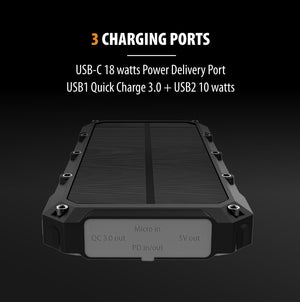 ROC10 – 10,000mAh, Solar Charger & Wireless Portable Power Bank