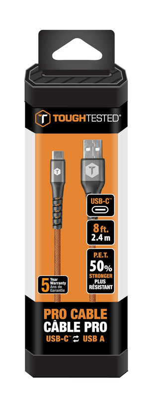 8 Ft. PRO Armor Weave Cable with Slim Tip for USB-A to USB-C Connector