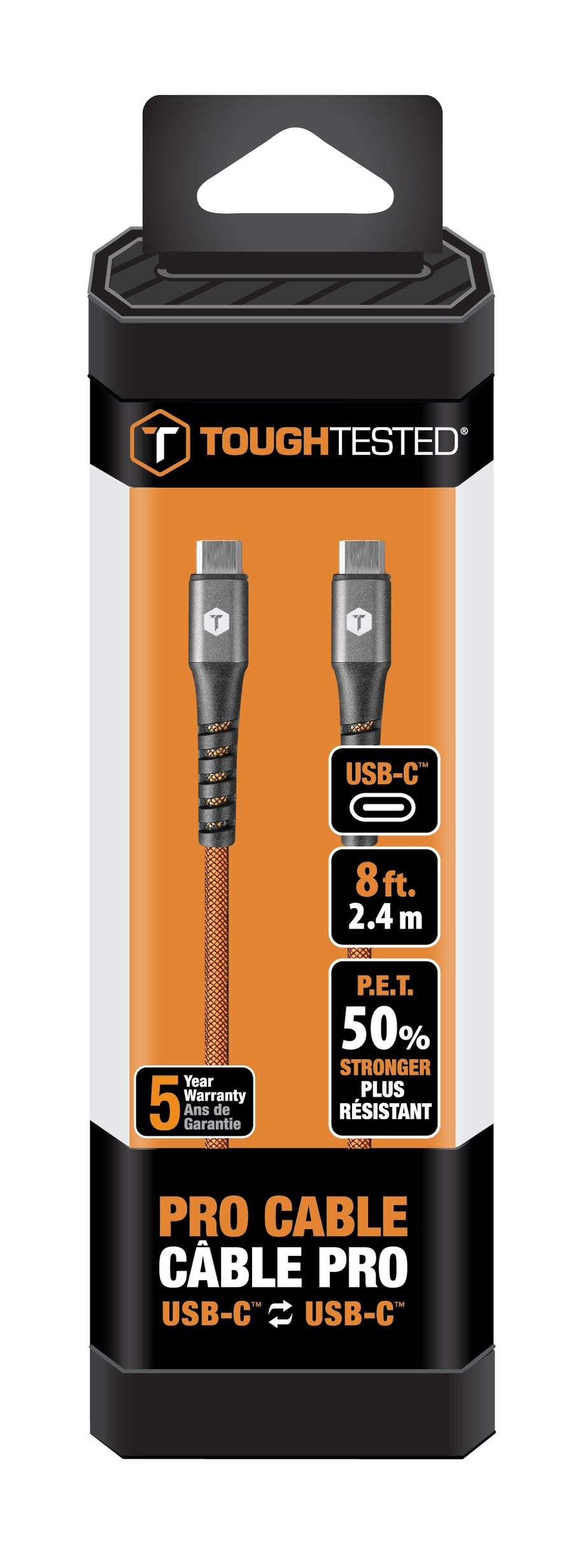 8 Ft. PRO Armor Weave Cable with Slim Tip with USB-C to USB-C Connector