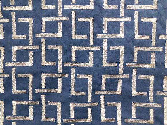 Geometric Embroidered Squares Fabric
