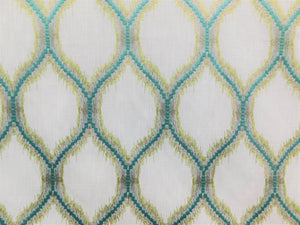 Embroidered Flamestitch Trellis Faux Linen