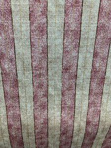 Cream/Burgundy stripe cotton fabric
