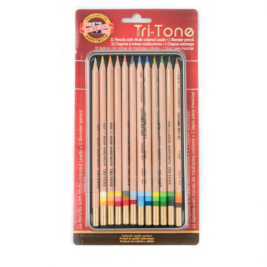 Koh-I-Noor Tri-Tone Color Pencil Tin - 12 Pk