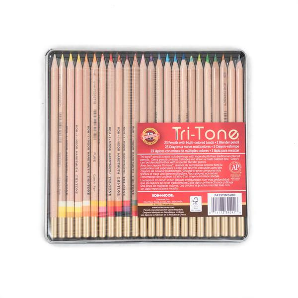 Koh-I-Noor Tri-Tone Color Pencil Tin - 24 Pk