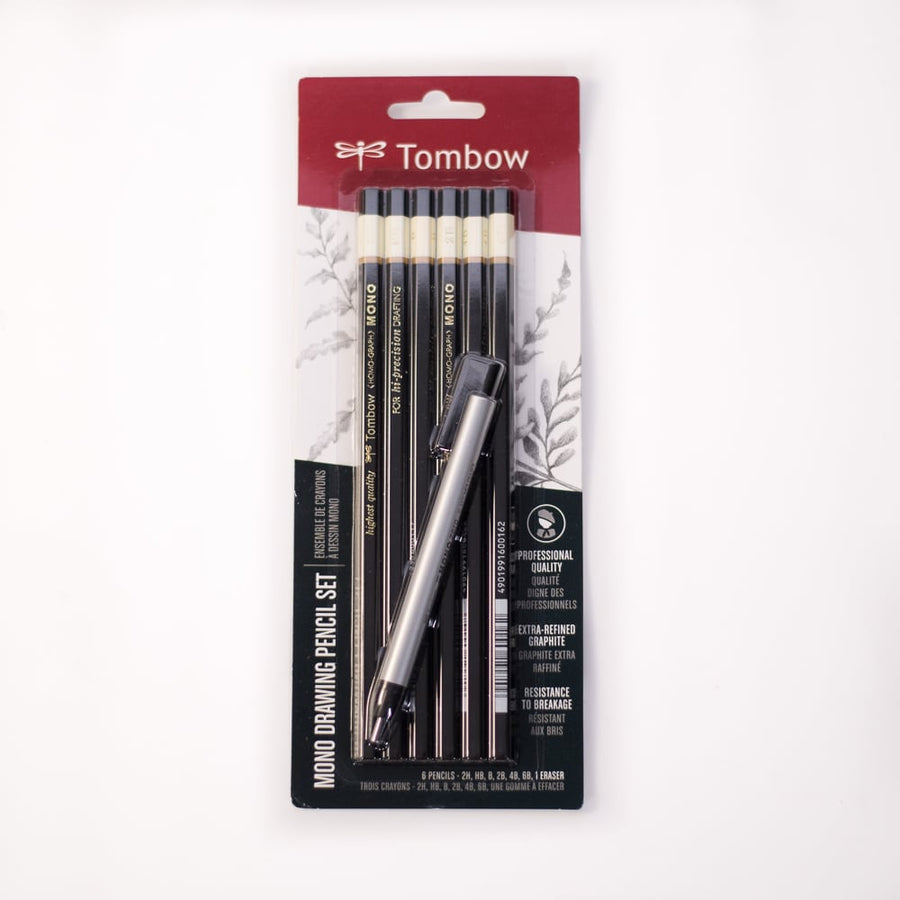 Tombow MONO Drawing Pencil Set 6 Pk + Eraser