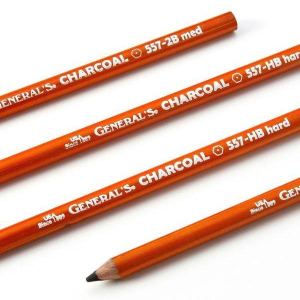 General's Black Charcoal Drawing Pencils (2 Pack)