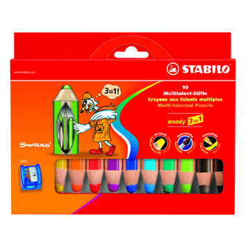 Stabilo Woody Jumbo Pencil Set with Sharpener