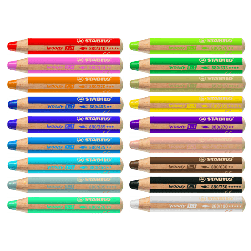 Stabilo Woody 3 in 1 Color Pencil - Color Chart